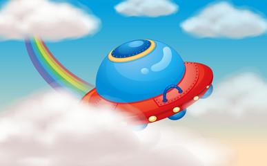 spaceship and rainbow