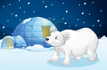 Canvas Prints Bears white bear and igloo