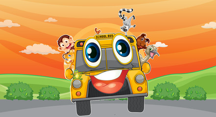 various animals in school bus