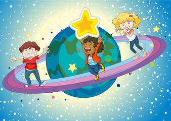 Garden Poster Cosmos kids on a saturn