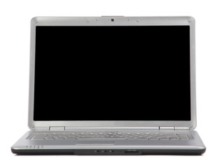 grey netbook isolated on white