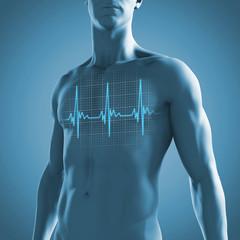 Männlicher Oberkörper mit dem Kardiogramm