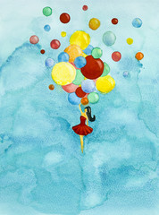 hand drawn illustration girl flying with balloons