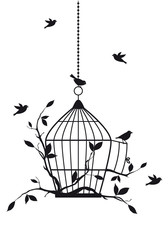 free birds with open birdcage, vector