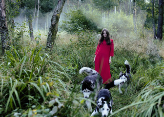 woman with wolfs