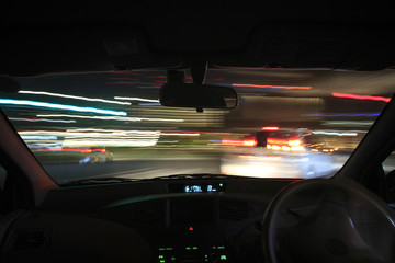 Speed drive from car view.