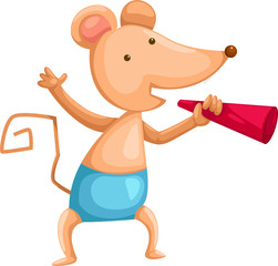 cartoon mouse with loudspeaker