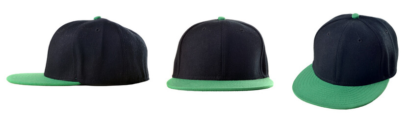 Three view of blank caps on white background