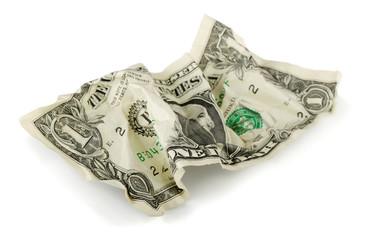 Crumpled one US dollar bill