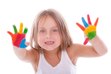 Happy girl with paint on her hands