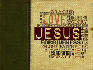 Religious Words on canvas with dark green leather strip