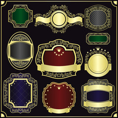 Vector set of the gold framing for labels -  style vintage