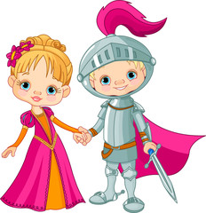 Deurstickers Ridders Medieval Boy and Girl