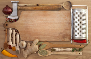 vegetables and spices border and empty cutting board