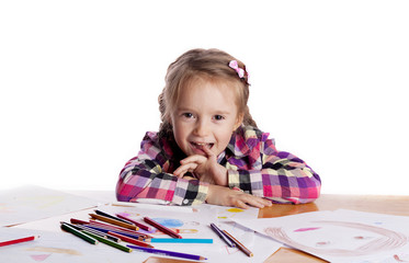 child - an artist with a sketch