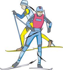 Skiing. Skiers