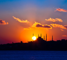 silhouette blue mosque