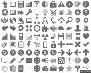 99 Web Icon Internet Business Button Set - grau
