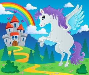 Printed kitchen splashbacks Castle Fairy tale pegasus theme image 2