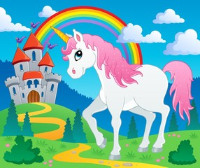 Spoed Foto op Canvas Pony Fairy tale unicorn theme image 2