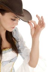 woman hold hat blue look down