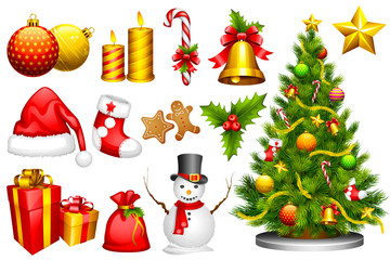 vector illustration of collection of design object for Christmas