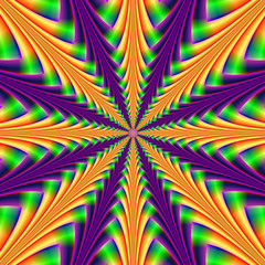 Foto op Textielframe Psychedelic Centerpoint in Purple and Orange