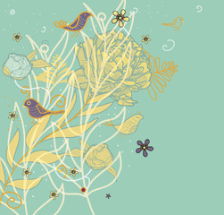 floral background with bright drawing flowers