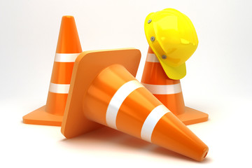 illustration of 3d image of hard hat on construction cone
