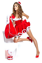 Printed kitchen splashbacks Fairytale World beautiful sexy girl wearing santa claus clothes
