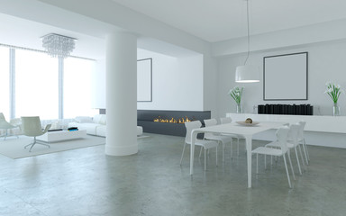 White minimalist lounge style living and dining room with firepl