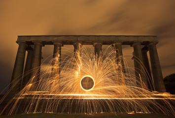 Sparking fire ring on National Monument, Edinburgh, Scotland.