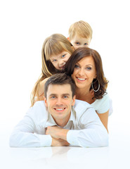 Wall Mural - Happy family smiling. Isolated over a white background