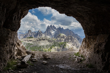 Panorama from man-made caves, Dolomites, Italy. Wall mural
