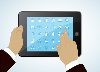tablet in hands - concept a successful modern business life