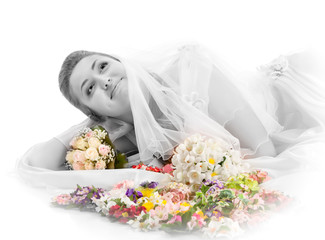 Beautiful woman dressed as a bride over white background.