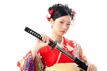 japanese kimono woman with japanese sword
