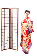 japanese kimono woman standing on white background