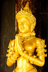 gold angel statue in chiangmai thailand