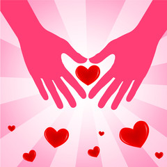 Hand with love heart on pink background  Vector illustration