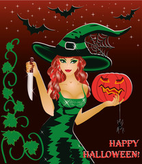 Happy halloween card. Redhead witch with a knife and a pumpkin