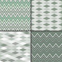 Set of seamless background patterns, argyle, chevron style