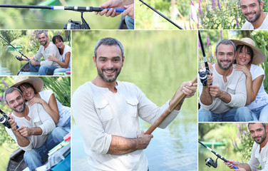 Montage of a couple fishing