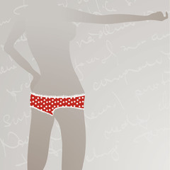 Red panties with Polka dots / Silhouette of woman body