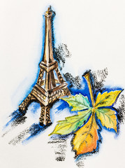 Poster Illustration Paris Eiffel Tower with chestnut leaf, watercolor with slate-pencil pa