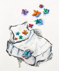 Good dreams concept with bed and butterflies, watercolor with sl