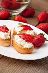 Cottage cheese cream toast with a slices of strawberry