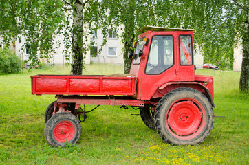 Retro red agricultural tractor under birch trees