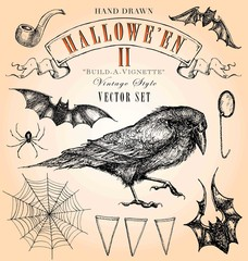 Vintage Style Halloween Hand Drawn Vector Set
