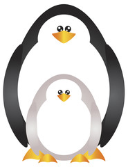Mother and Baby Penguins Illustration